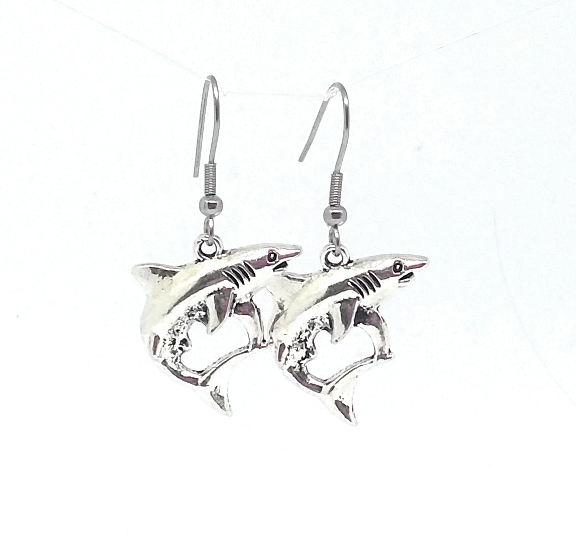 Shark Dangle Earrings with Stainless Steel Ear Wires