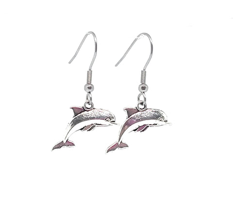 Dolphin Charm Dangle Earrings with Stainless Steel Ear Wires