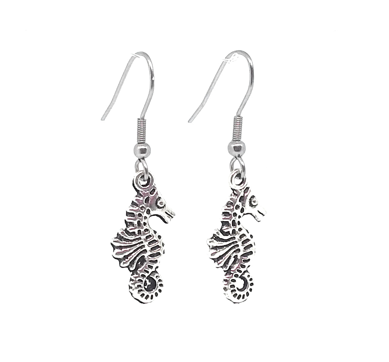 Seahorse Charm Dangle Earrings with Stainless Steel Ear Wires