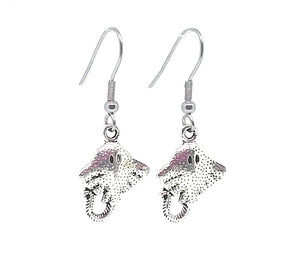Sting Ray Charm Dangle Earrings with Stainless Steel Ear Wires