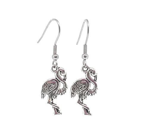 Pink Flamingo Charm Dangle Earrings with Stainless Steel Ear Wires