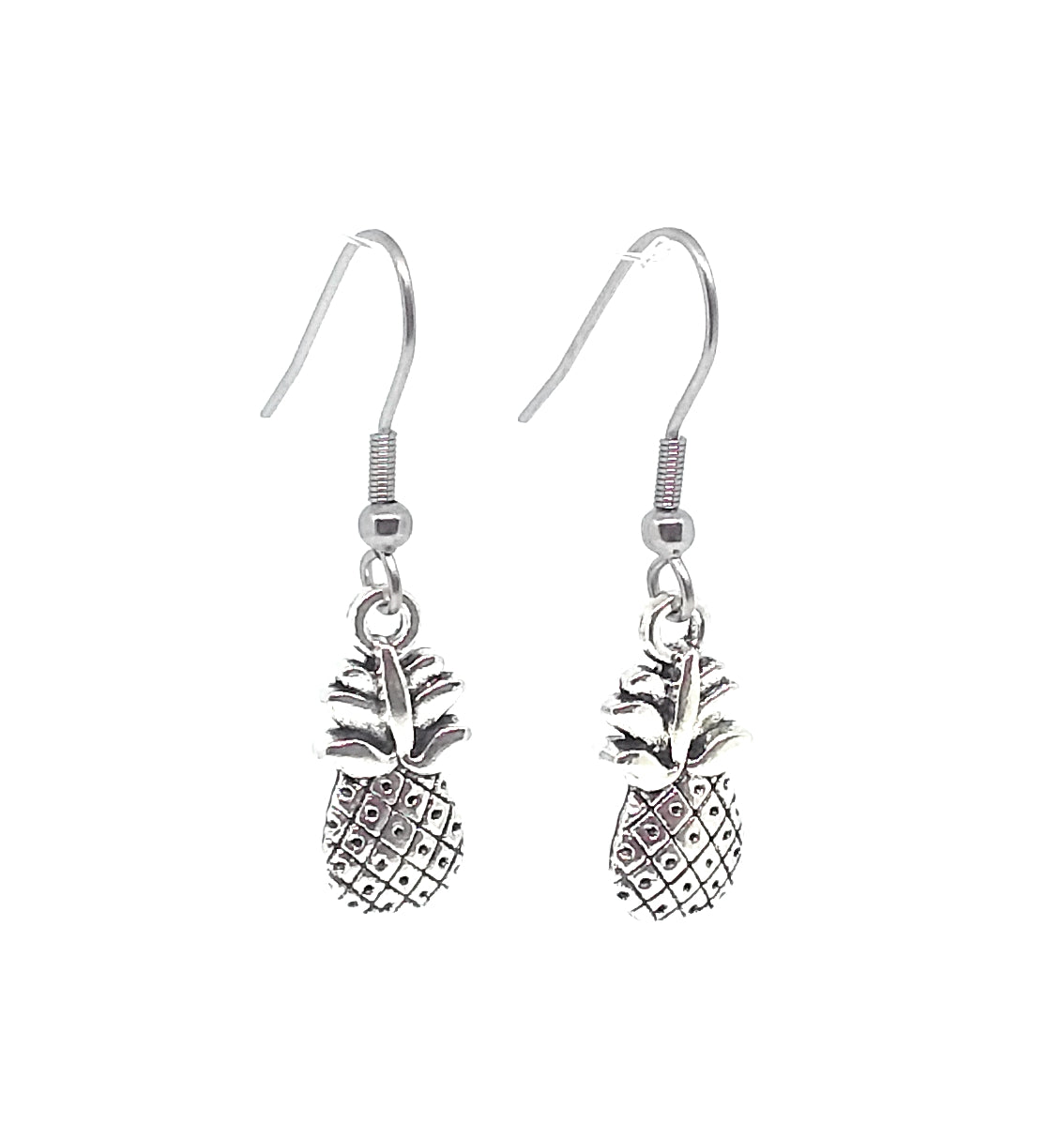 Pineapple Charm Dangle Earrings with Stainless Steel Ear Wires