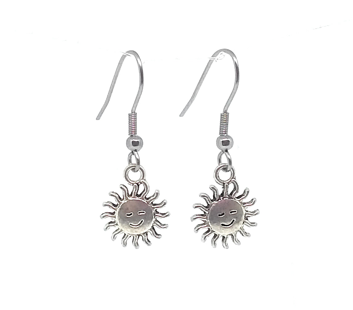 Smiley Sunshine Charm Dangle Earrings with Stainless Steel Ear Wires