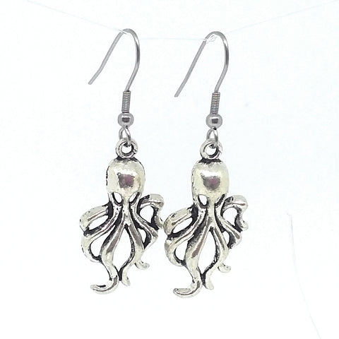 Octopus Charm Dangle Earrings with Stainless Steel Ear Wires
