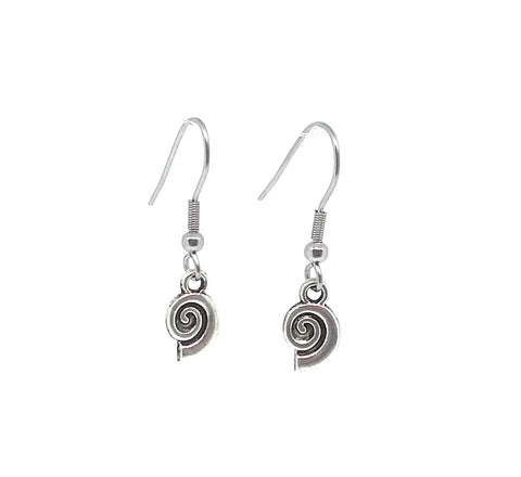 Snail Seashell Charm Dangle Earrings with Stainless Steel Ear Wires