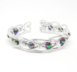 Celtic Weave Aluminum Wire Wrapped Bracelet - Rainbow Beads