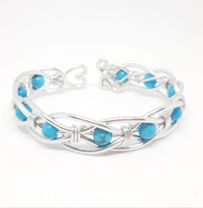 Celtic Weave Aluminum Wire Wrapped Bracelet - Faux Turquoise
