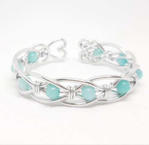Celtic Weave Aluminum Wire Wrapped Bracelet - Amazonite