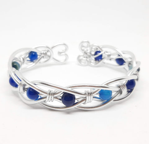 Celtic Weave Aluminum Wire Wrapped Bracelet - Blue Agate