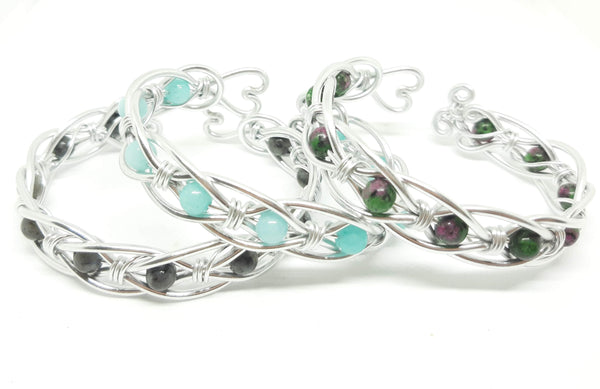 Celtic Weave Aluminum Wire Wrapped Bracelet - Ruby in Zoisite