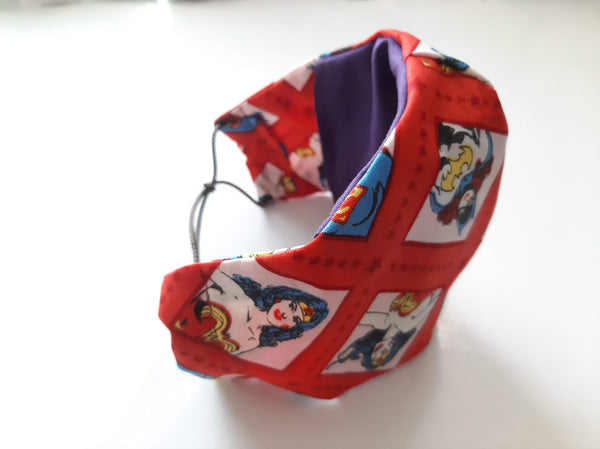 BEST FIT Cotton Fabric Face Mask, 2 Layers, Filter Pocket, Flexible Nose Wire Piece, Elastic behind Neck-No Ear Pain - Women Super Heros