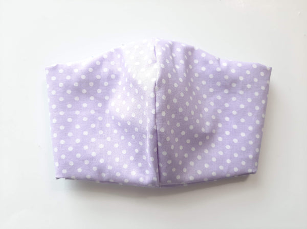 BEST FIT Cotton Fabric Face Mask, 2 Layers, Filter Pocket, Flexible Nose Wire Piece, Elastic behind Neck-No Ear Pain - Light Purple White Polka Dots