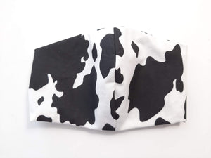 BEST FIT 100% Cotton Fabric Face Mask, 2 Layers, Filter Pocket, Flexible Nose Wire Piece, Elastic behind Head-No Ear Pain - Cow Print