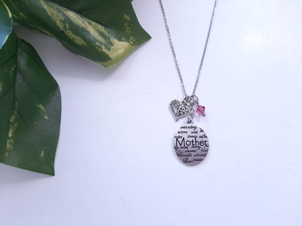 "Mother Message Pendant Necklace ""Mother"" Your Choice of Charm and Birthstone Color"