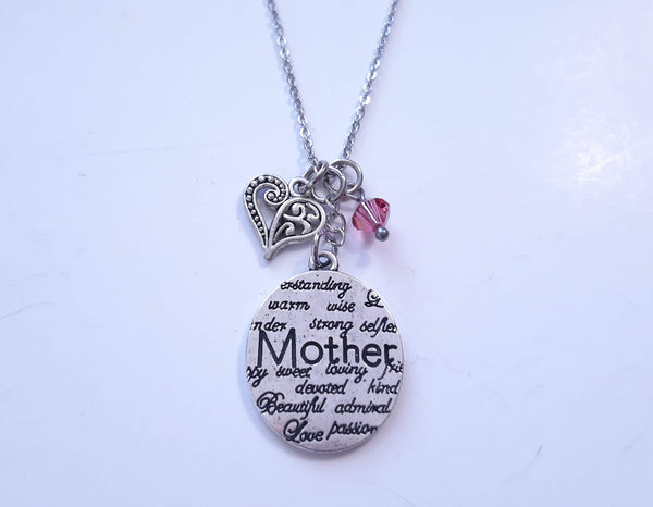 Mother Message Pendant Necklace. Choose Your Crystal. Gift for Mom..