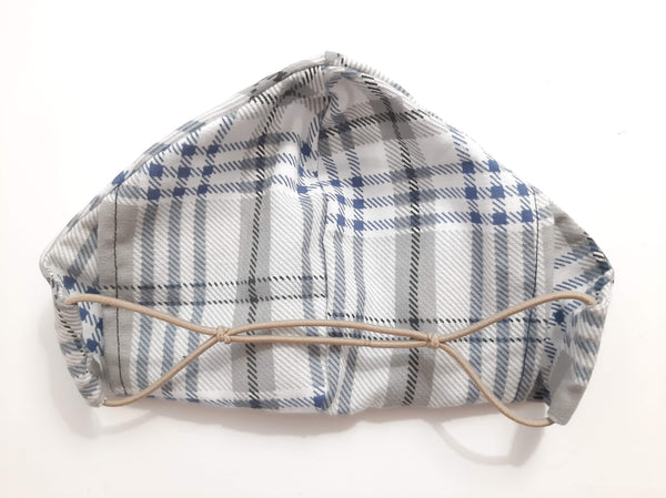 BEST FIT Cotton Fabric Face Mask, 2 Layers, Filter Pocket, Flexible Nose Wire Piece, Elastic behind Head-No Ear Pain - Plaid
