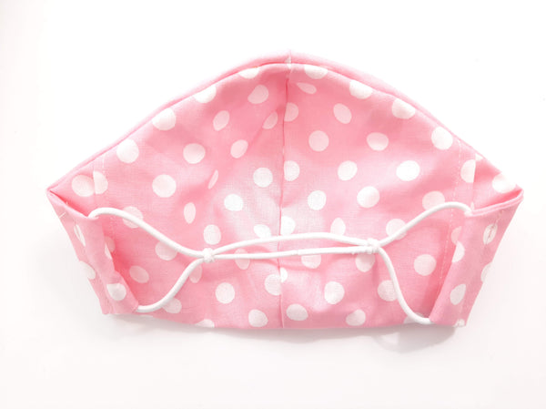 BEST FIT Cotton Fabric Face Mask, 2 Layers, Filter Pocket, Flexible Nose Wire Piece, Elastic behind Neck-No Ear Pain - Pink White Polka Dots
