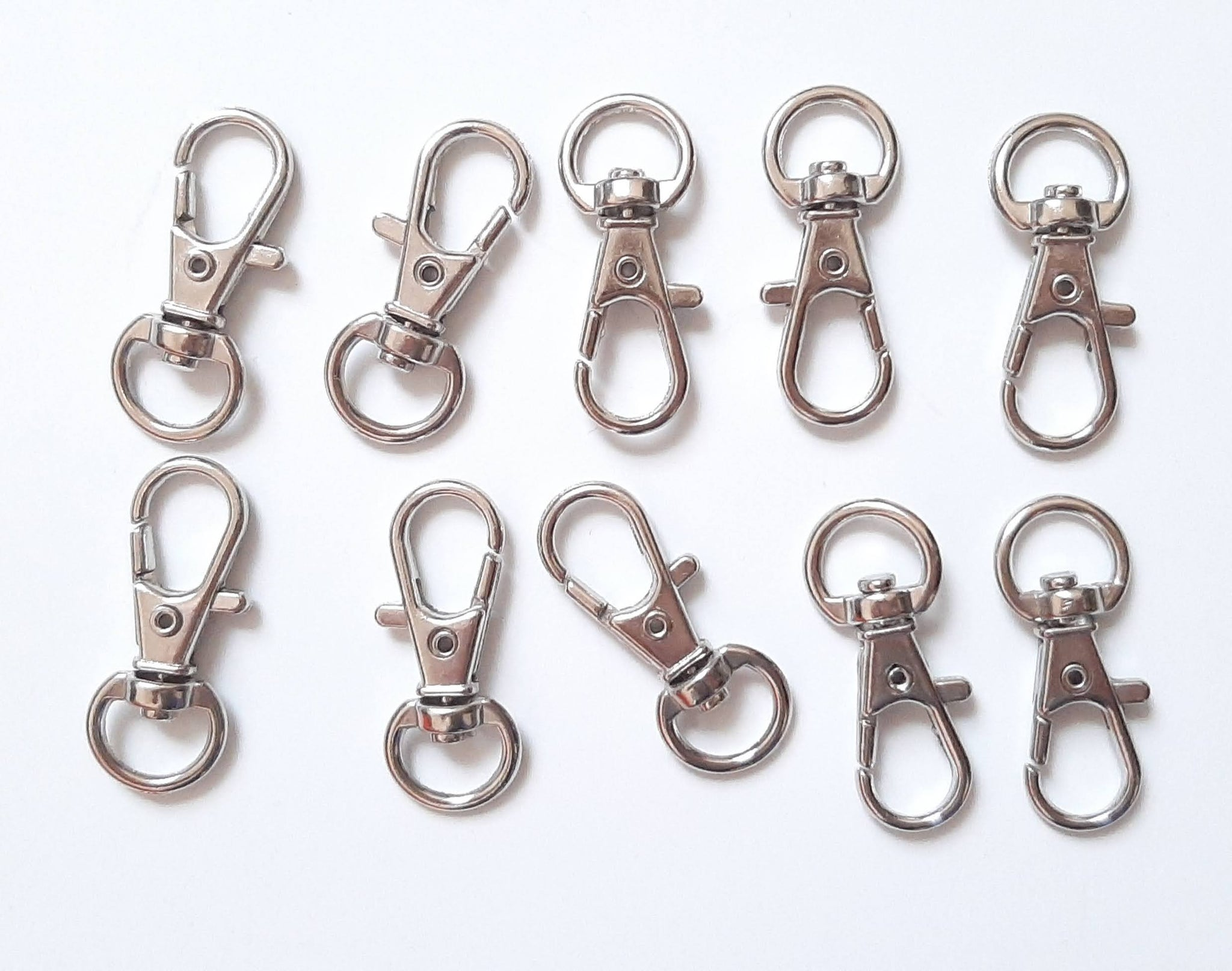 Set of 10 Large Keychain/Badge Clips for Making Face Mask Chain Holders