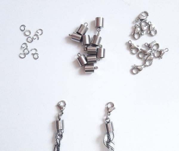 Set of 10 Cord Ends, Lobster Clasps, and Jump Rings for Making Face Mask Chain Holders