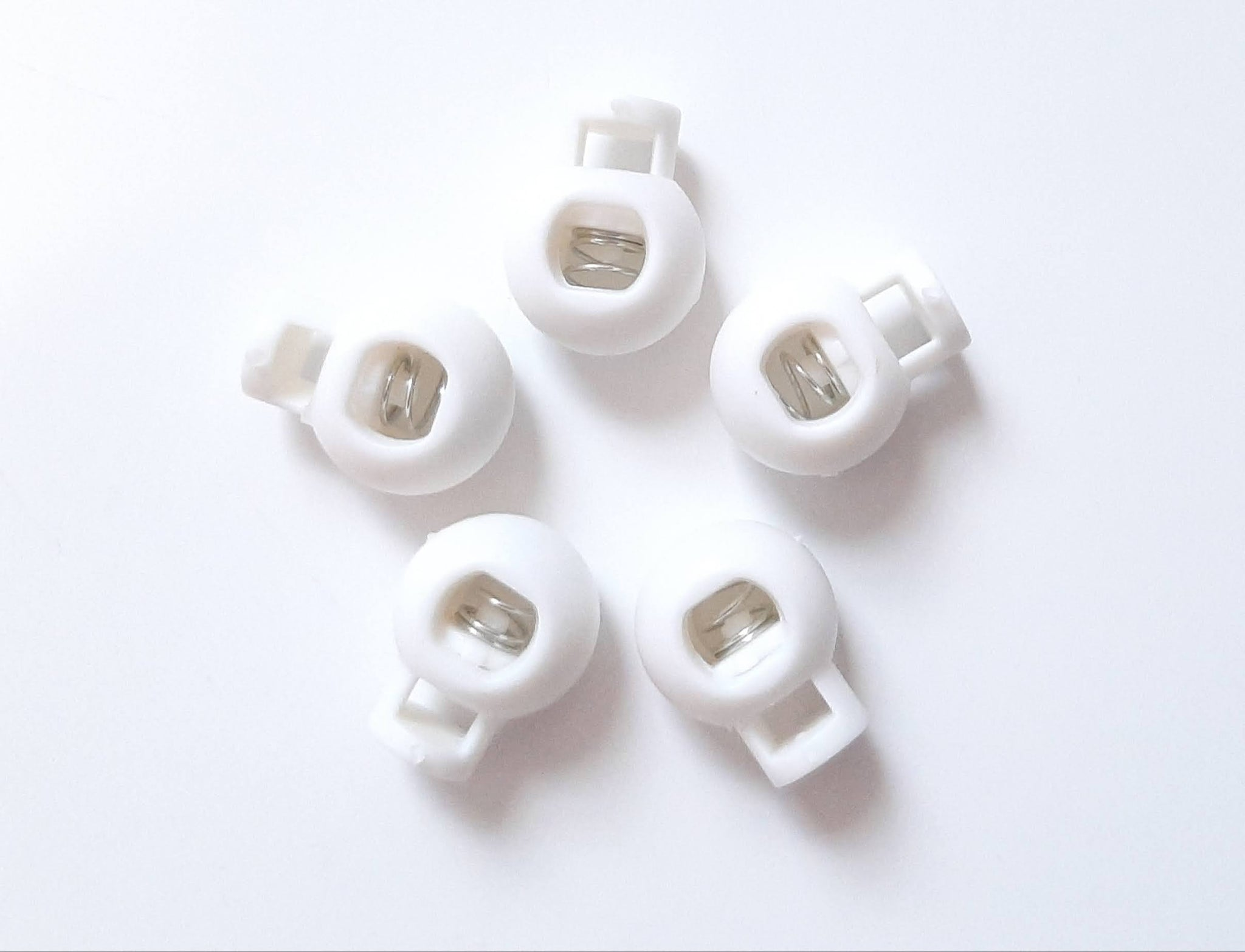 5pc White Nylon Spring Buckle - Sliding Buckle to Lock Yarn, Cord, or Rope in Place
