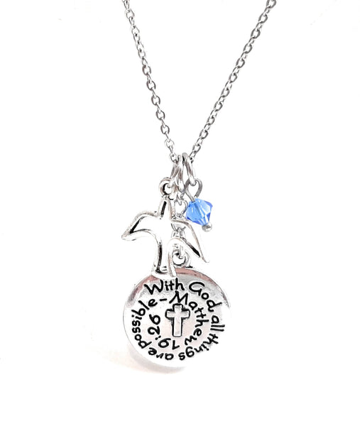 "Bible Verse Christian Pendant Necklace ""With God All Things Are Possible"" with Your Choice of Charm and Birthstone Color"
