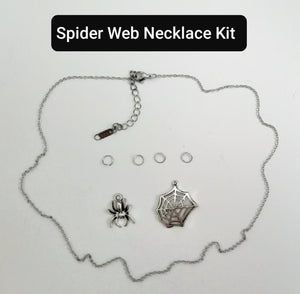SUPPLIES KIT to Make The Stainless Steel Spooky Spider Web Y Shape Necklace