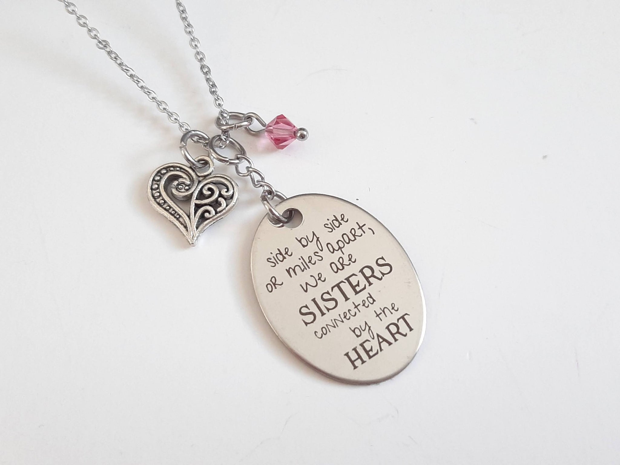 "Far Away Sister Pendant Necklace ""...Sisters Connected by the Heart"" Your Choice of Charm and Birthstone Color"