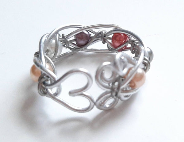 Adjustable Wire Weave Beaded Ring - Multi-Color Pearl