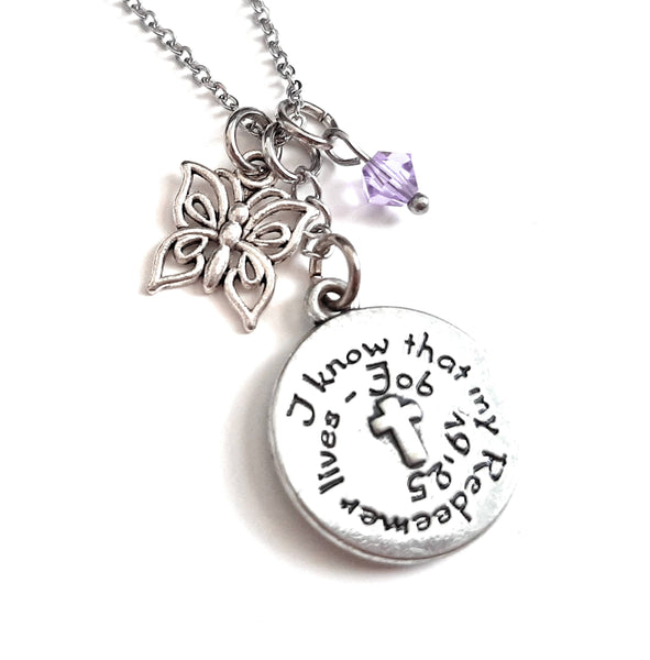 "Bible Verse Christian Pendant Necklace ""I Know That My Redeemer Lives"" with Your Choice of Charm and Birthstone Color"