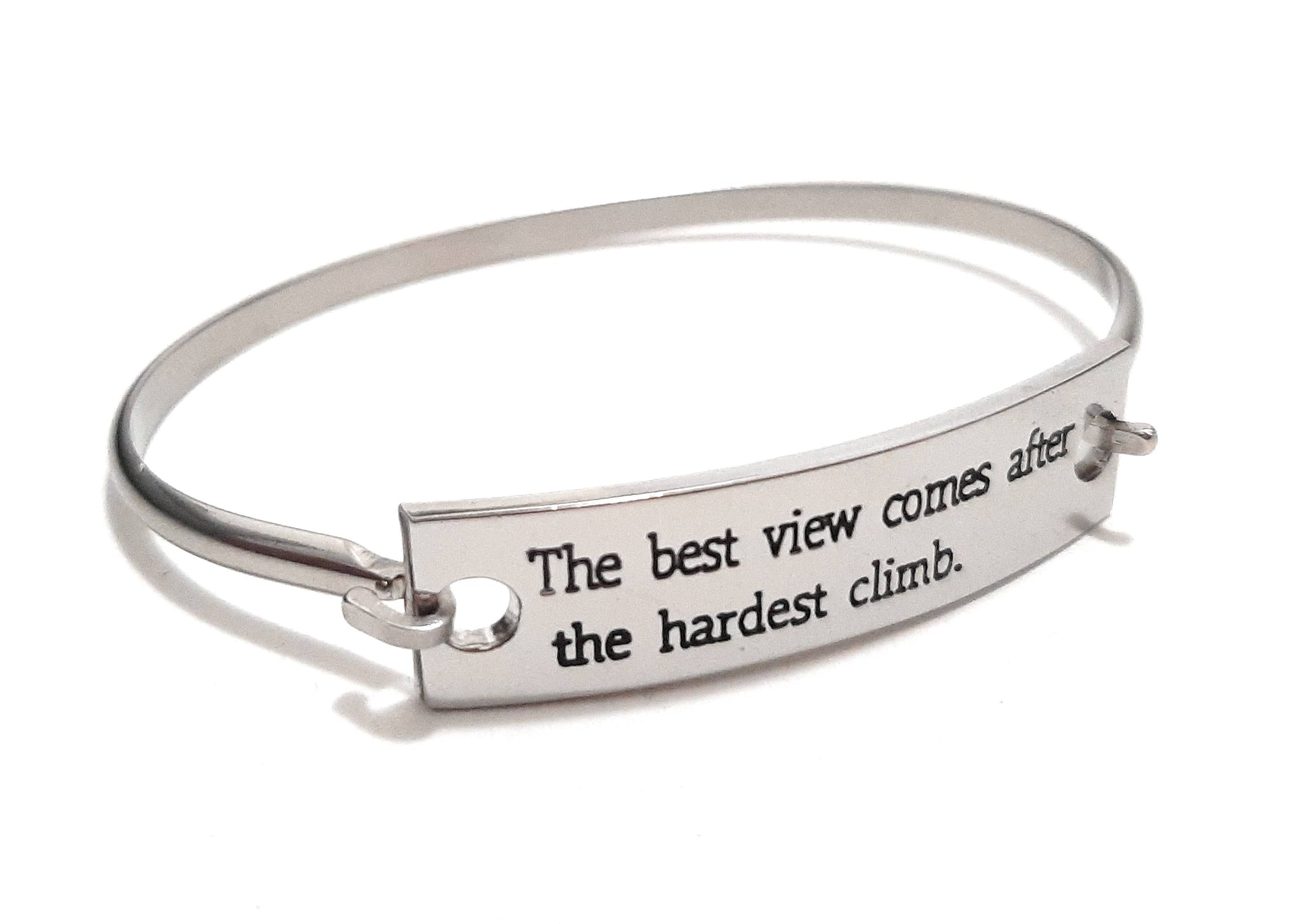 Stainless Steel Inspirational Message Connector Bangle Bracelet - The best view comes after the hardest climb