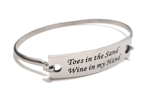 Stainless Steel Inspirational Message Connector Bangle Bracelet - Toes in the sand Wine in my hand