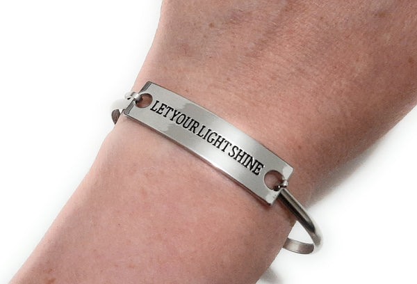 Stainless Steel Inspirational Message Connector Bangle Bracelet - LET YOUR LIGHT SHINE