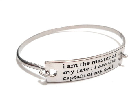 Stainless Steel Inspirational Message Connector Bangle Bracelet - i am the master of my fate...
