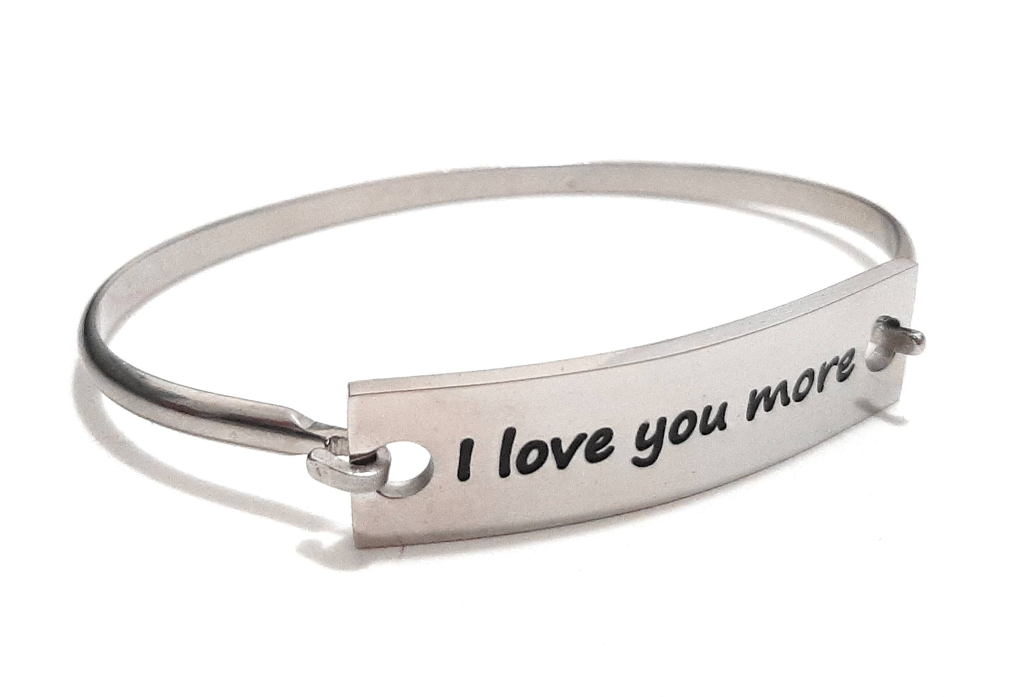 Stainless Steel Inspirational Message Connector Bangle Bracelet - I love you more