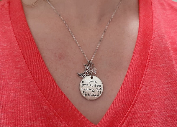 "Loving Message Pendant Necklace ""I Love You to the Moon & Back"" Your Choice of Charm and Birthstone Color"