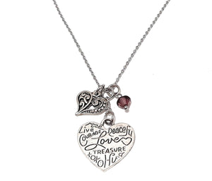 "Heart Shaped Loving Word Pendant Necklace ""Courage Peaceful Love Treasure..."" Your Choice of Charm and Birthstone Color"