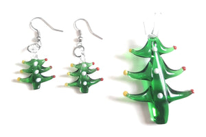 Lampwork Glass Christmas Tree Pendant & Earrings Set CH02S
