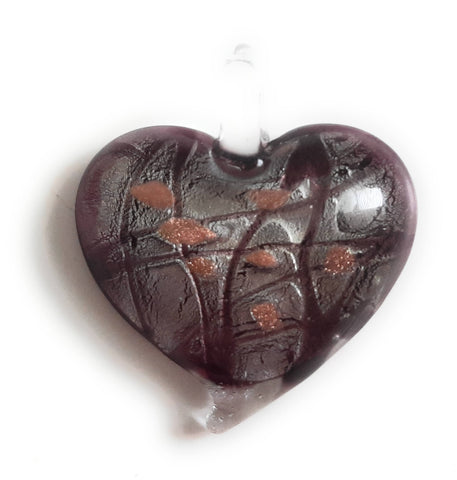 Lampwork Glass Heart Pendant HT58