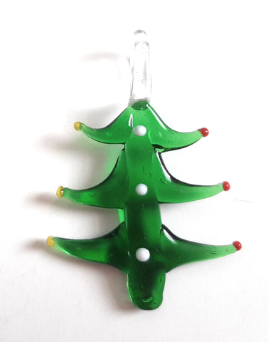 Lampwork Glass Christmas Tree Pendant CH01