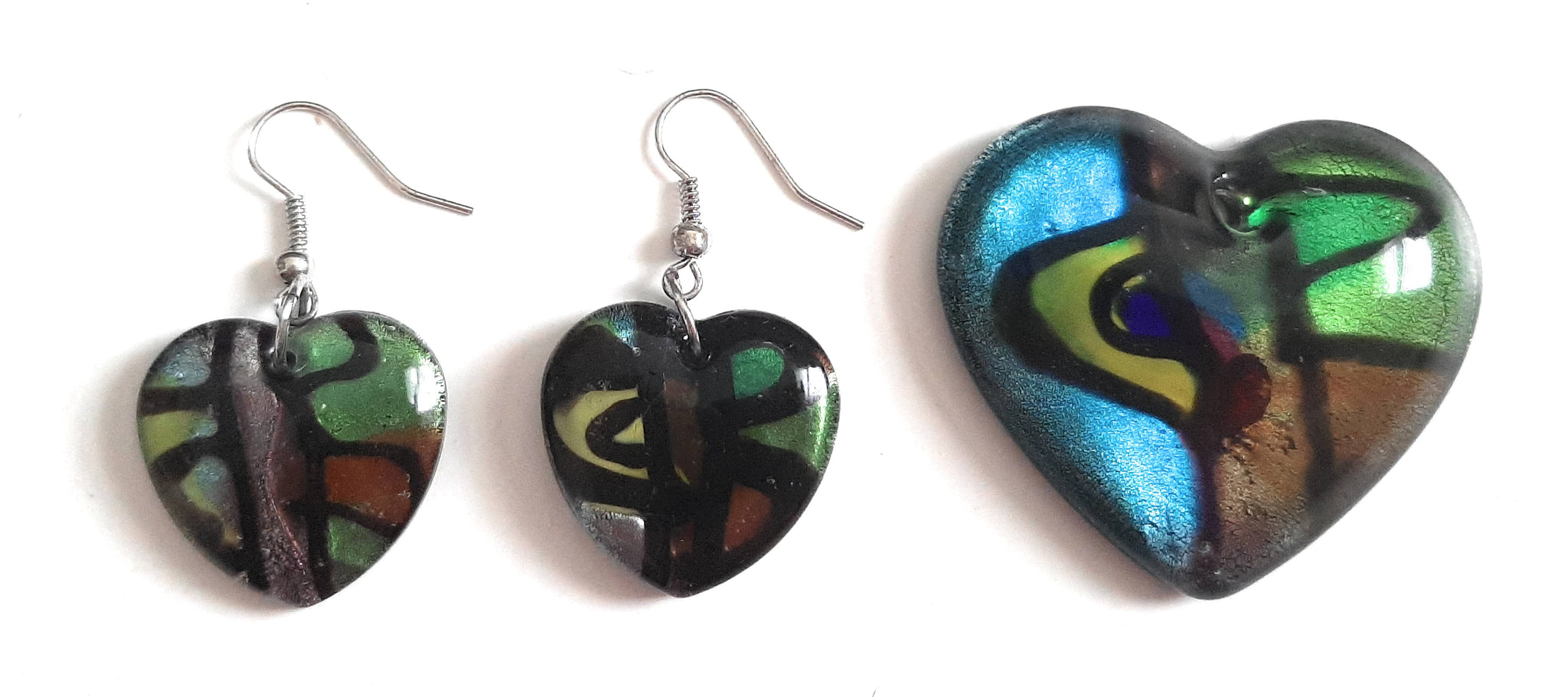 Lampwork Glass Heart Pendant & Earrings Set HT01S