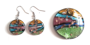 Lampwork Glass Round Pendant & Earrings Set RD01