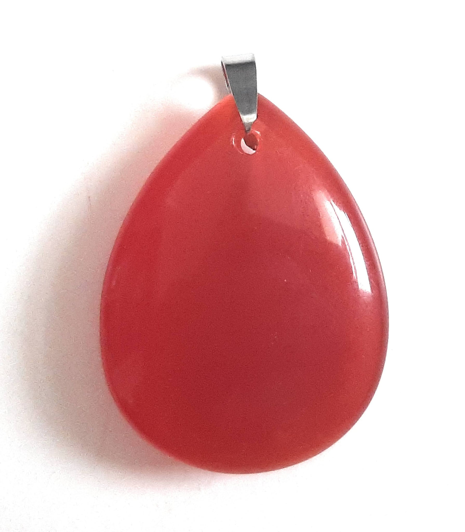 Cat's Eye Teardrop Pendant Red-Orange