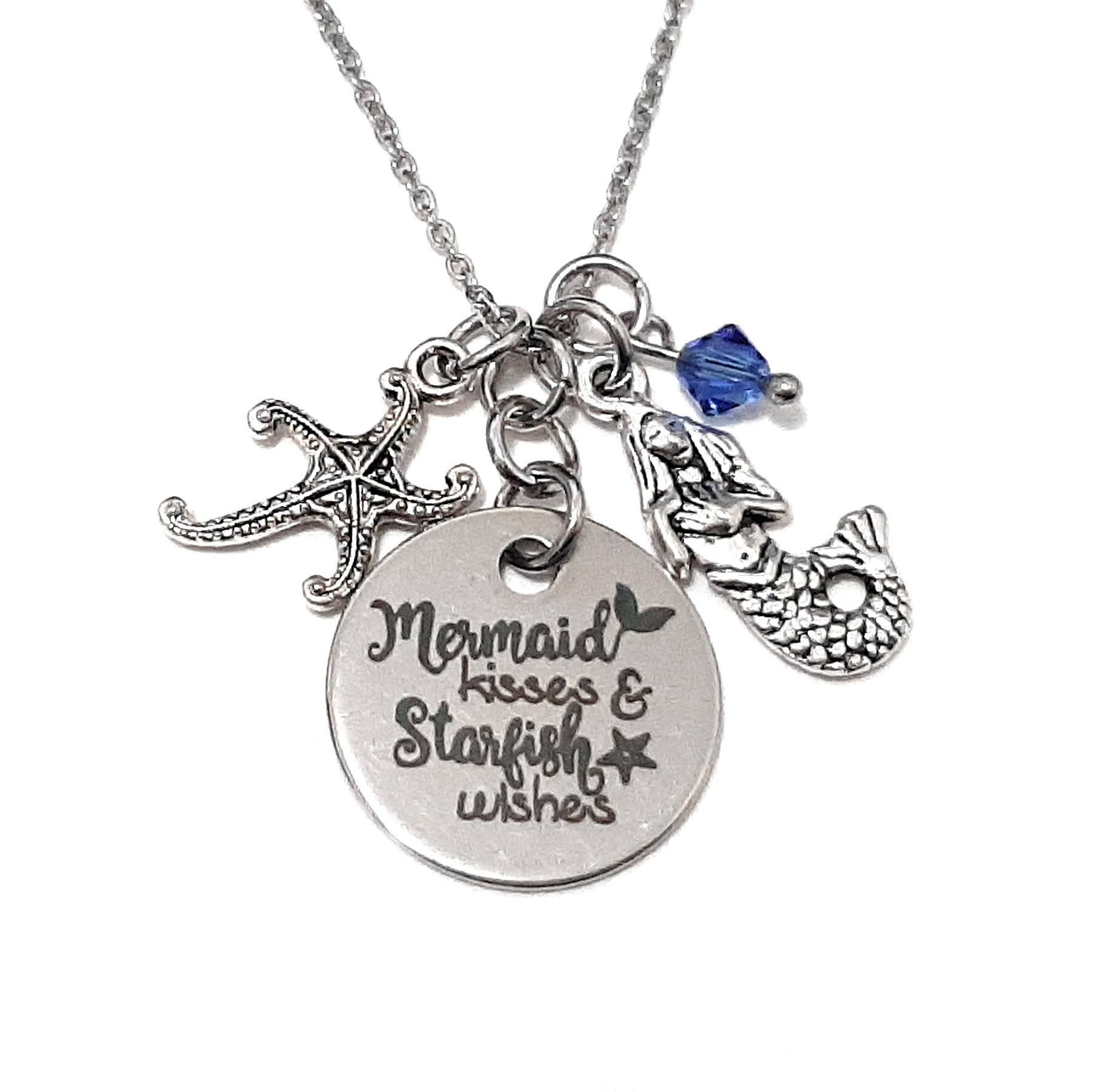 "Message Pendant Necklace ""Mermaid Kisses Starfish Wishes"" Your Choice of Charm and Birthstone Color"