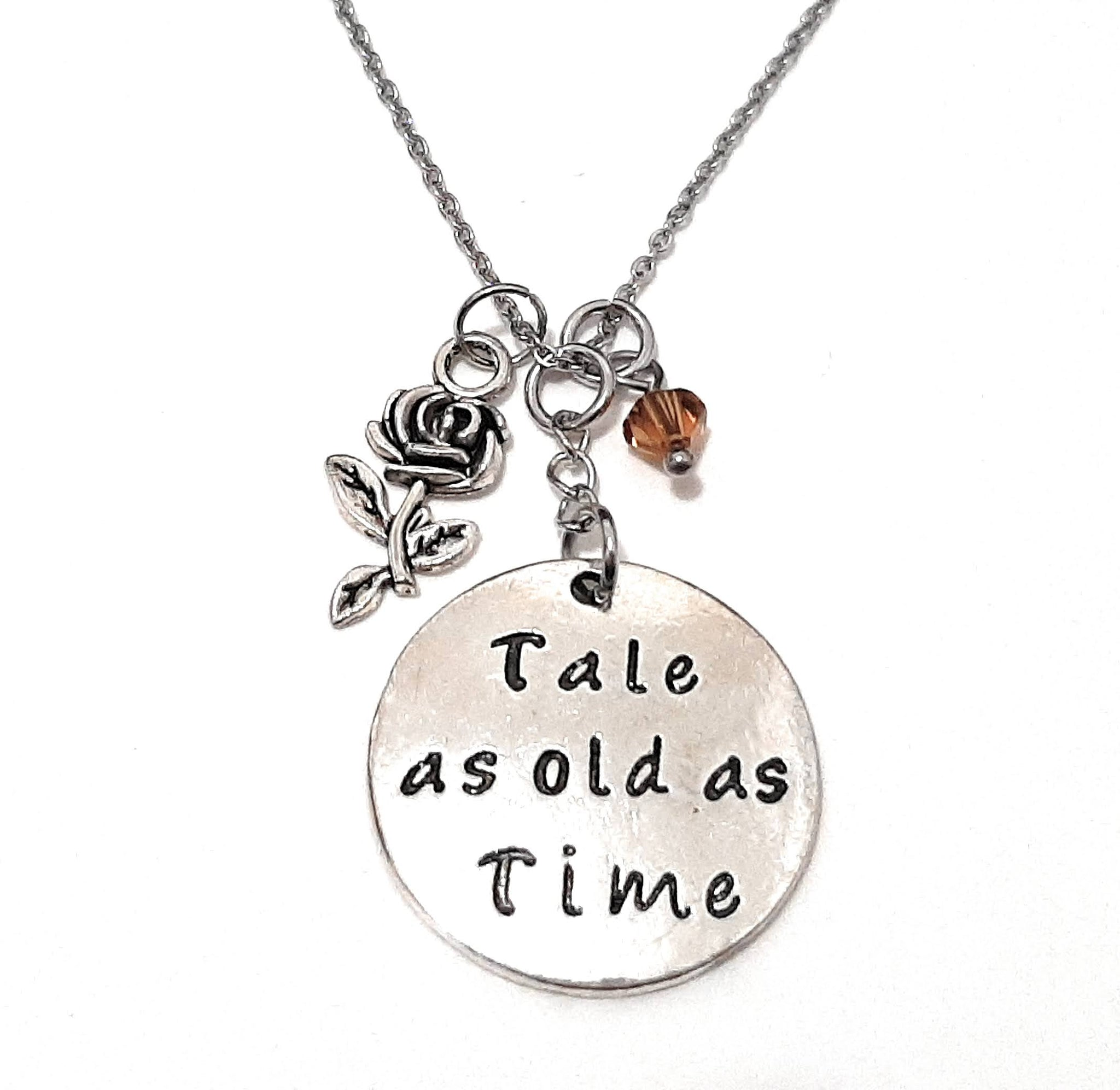 "Message Pendant Necklace ""Wishes do come true"" Your Choice of Charm and Birthstone Color"