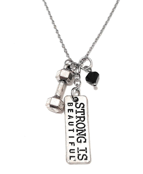 "Message Pendant Necklace ""Strong is Beautiful"" Your Choice of Charm and Birthstone Color"