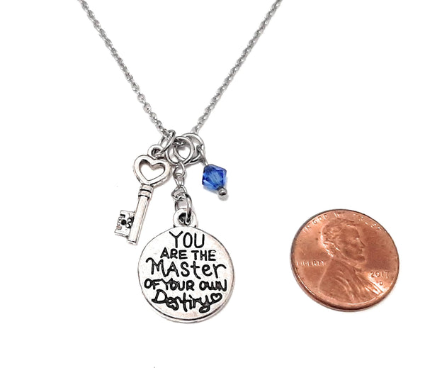 "Message Pendant Necklace ""Always remember You are braver than you believe..."" Your Choice of Charm and Birthstone Color"