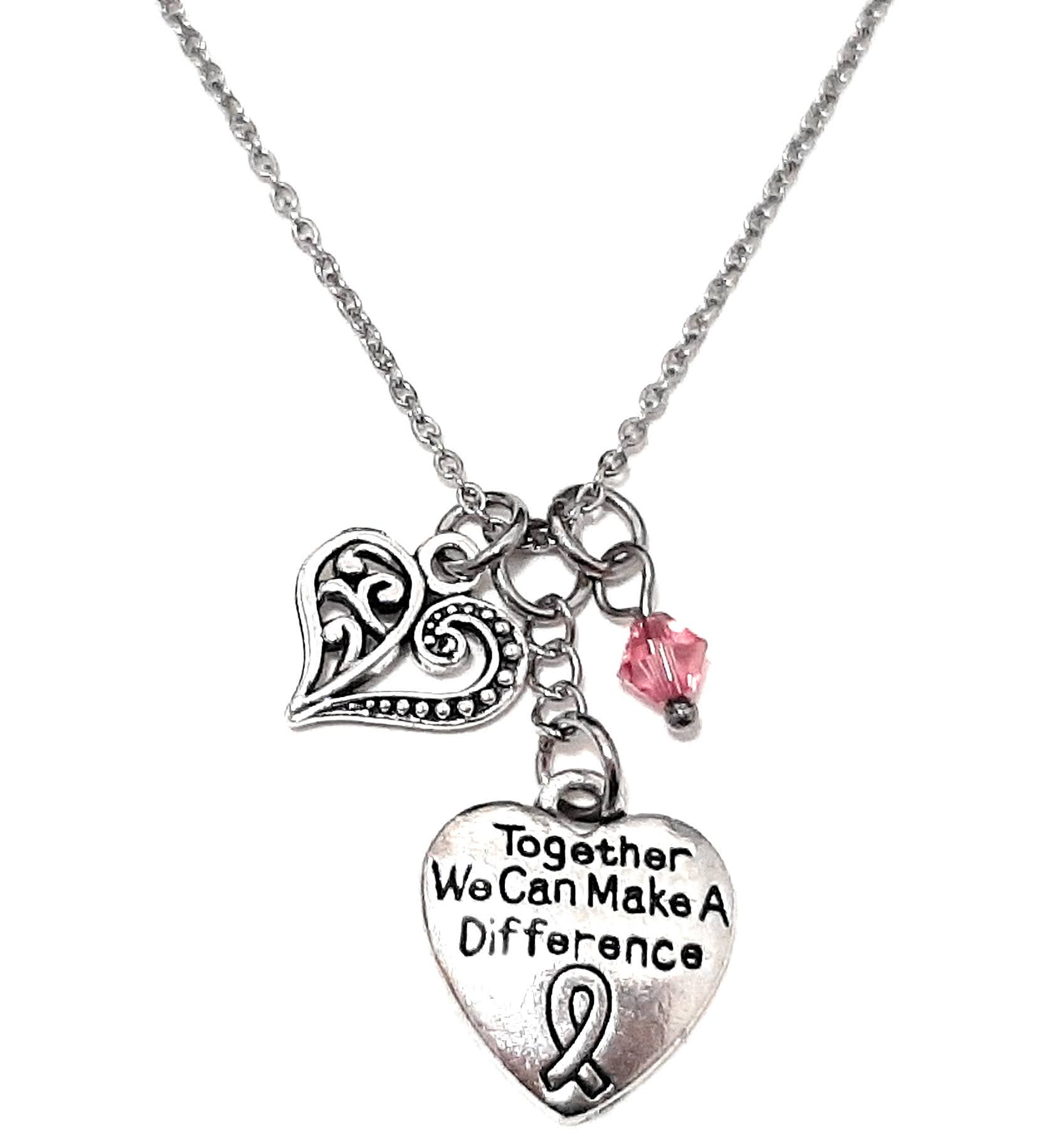 "Message Pendant Necklace ""Together we can make a difference"" Your Choice of Charm and Birthstone Color"