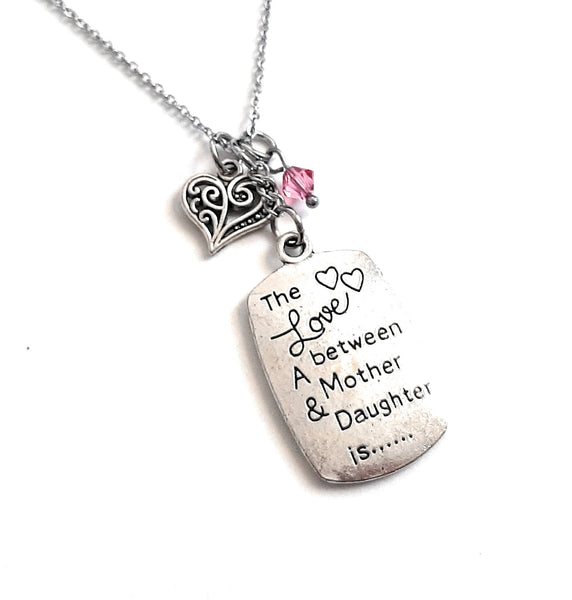 "Mother/Daughter Message Pendant Necklace ""The love between a mother & daughter is..."" Your Choice of Charm and Birthstone Color"