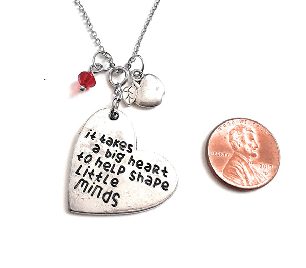"Teacher Message Pendant Necklace ""It takes a big heart to shape little minds"" Your Choice of Charm and Birthstone Color"
