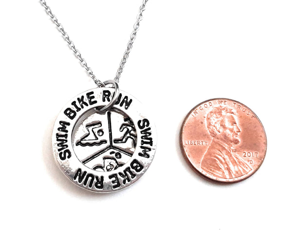 "Triathlon Message Pendant Necklace ""Swim Bike Run"" Your Choice of Charm and Birthstone Color"
